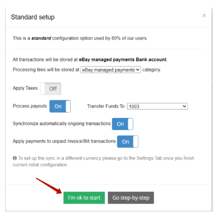 """use standard configuration and hit """"I'm ok to start"""" or you can click on """"Go step-by-step"""""""