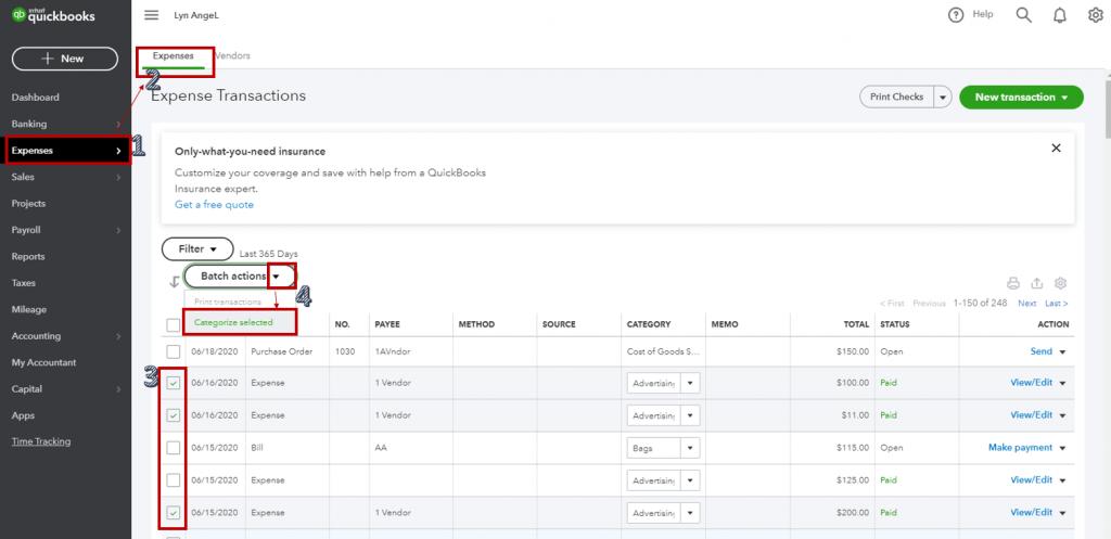 Expenses categorization QuickBooks