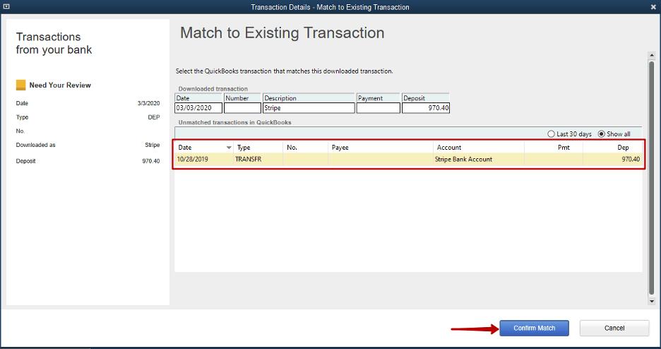 Payout (Money Depositing) recognized - reconcile Stripe in QuickBooks Desktop