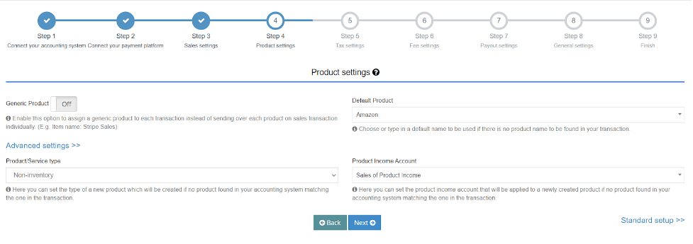 Select Product Income Account and Product/Service type that will be applied to each newly created product