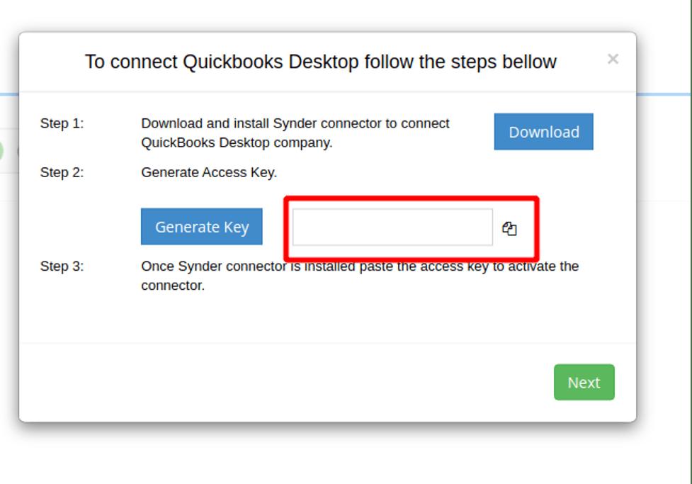 QuickBooks Desktop Connection access key