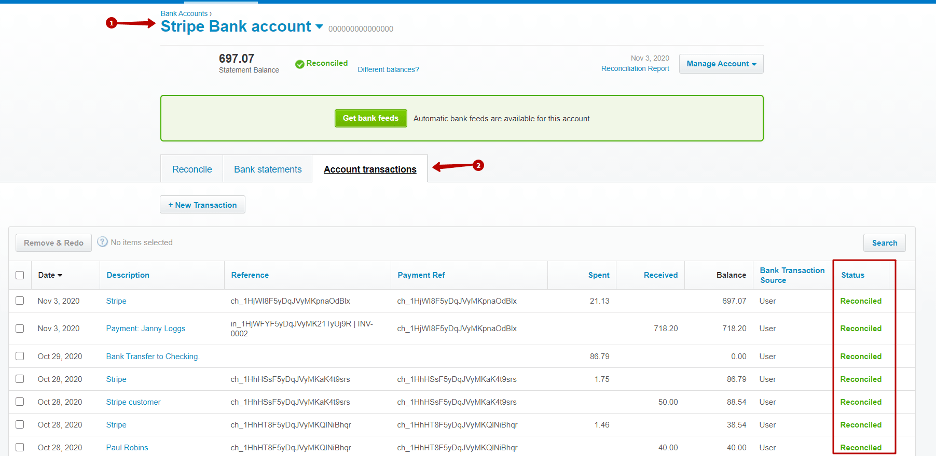 how to find reconciled transactions in Xero