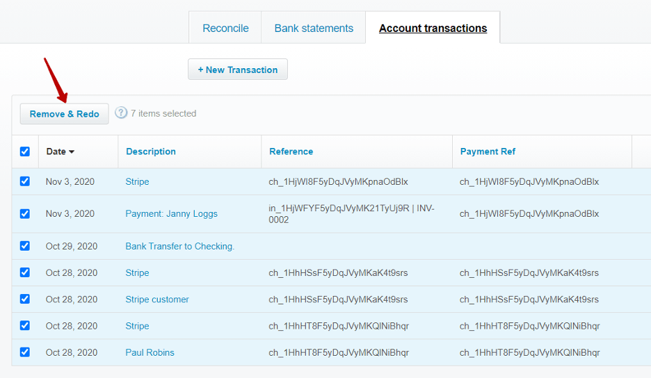 how the rollback feature work for auto reconciled transactions