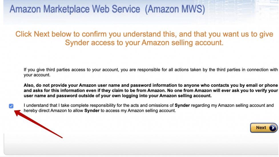 Click Next -> Approve access to your Amazon store