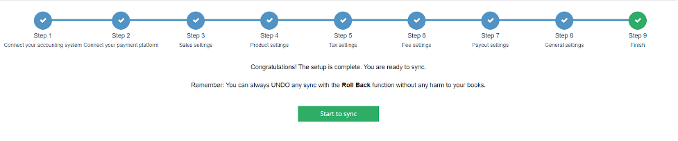 Finish the set up by pressing Start to sync button