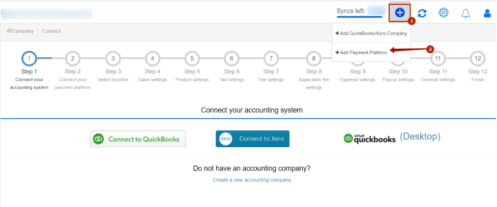 Log in to your Synder account and Click on the Plus sign in the top right corner