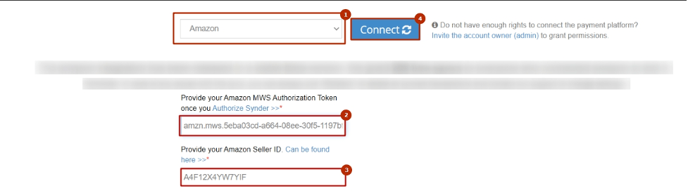 Select Amazon from the drop-down menu, then paste Seller ID and MWS Auth Token in the required fields in Synder
