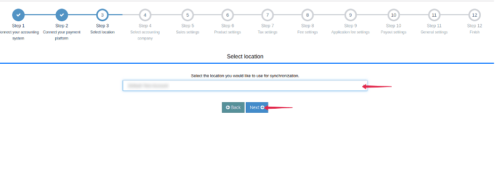 Select the location associated with the transactions you would like to sync to QuickBooks/Xero