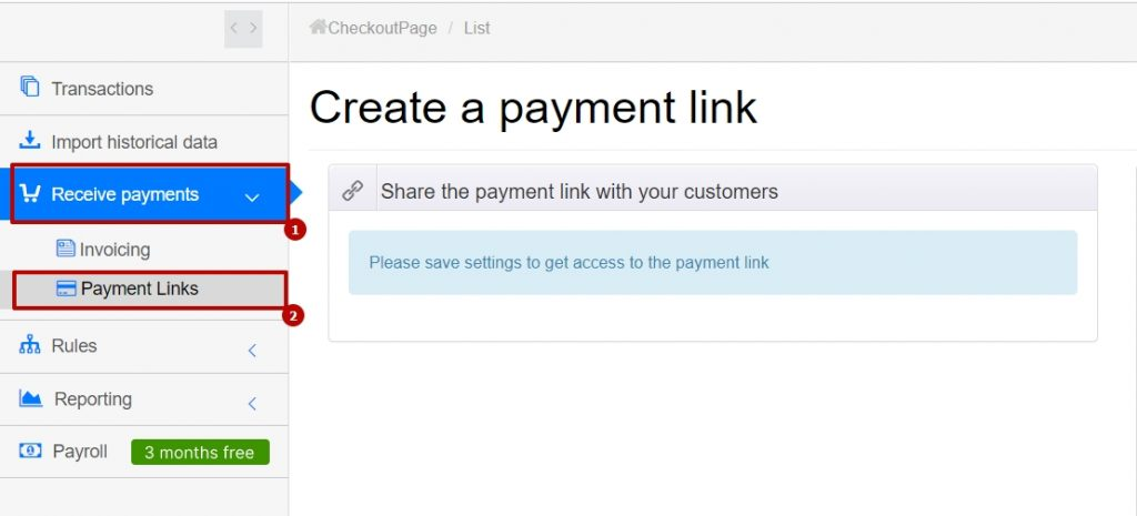 go to the Online Payment tab and choose Checkout Payments