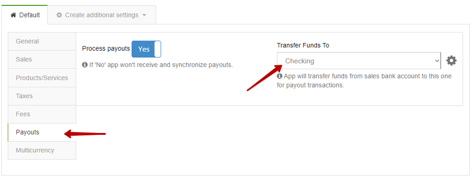 Make sure under the Payouts tab a Checking bank account is selected