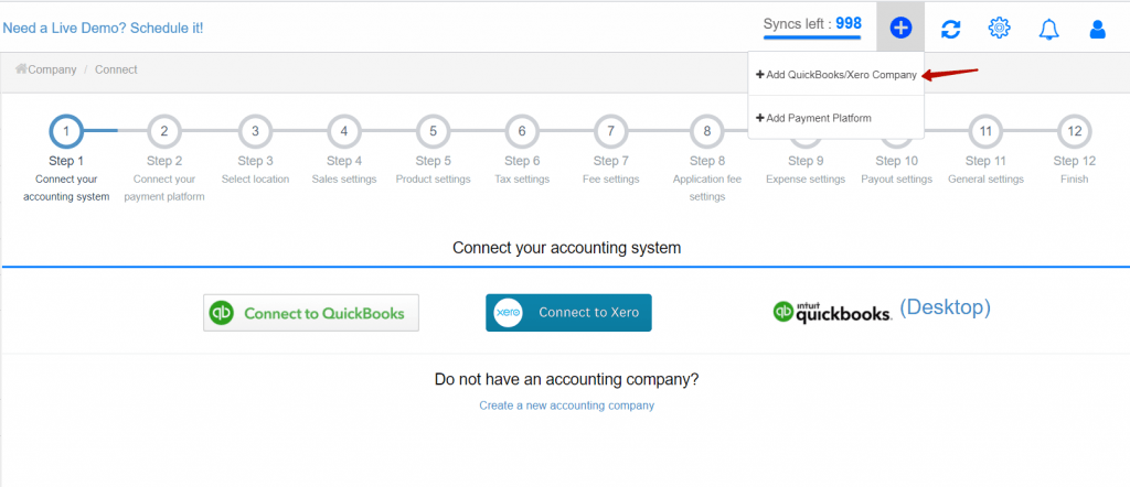 synchronize your GoCardless transactions to a QuickBooks/Xero accounting company