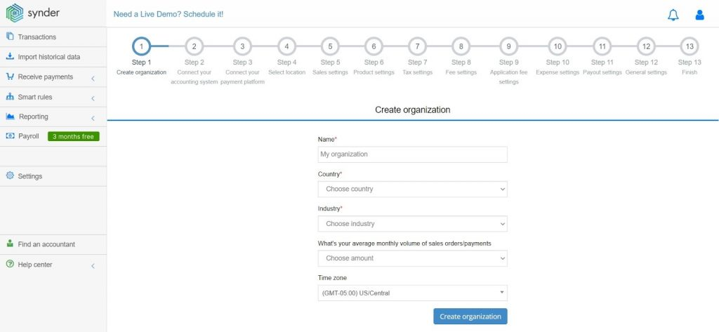 set up an account in Synder connect your accounting system