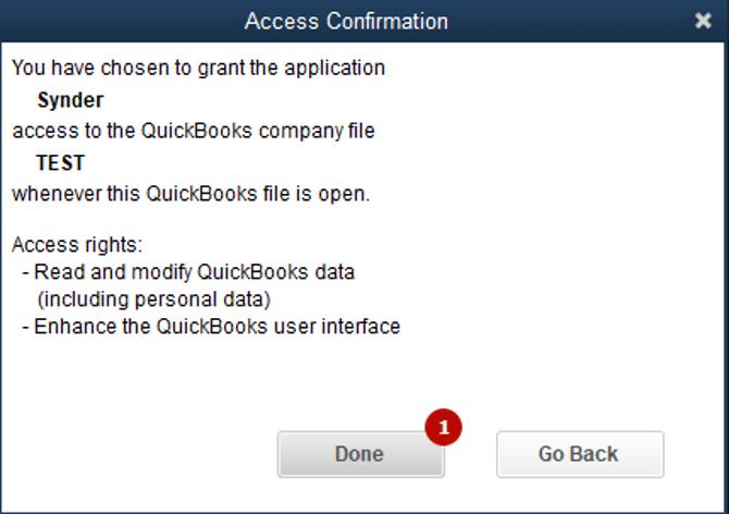 "Click ""Done"" to confirm the Quickbooks Desktop setup"