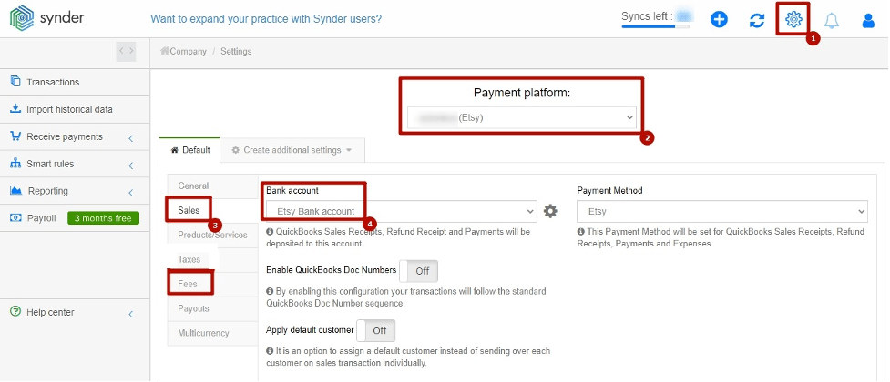 Customizing Synder Settings for Etsy QuickBooks reconciliation