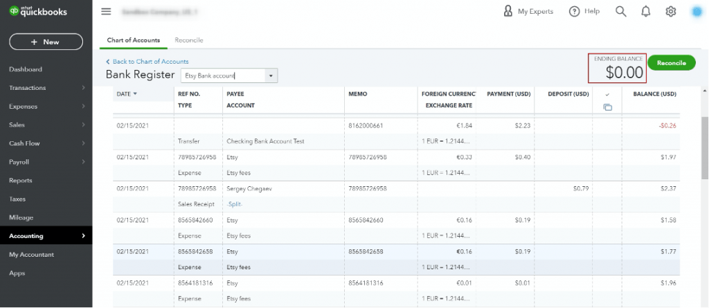 reconcile Etsy transactions in QuickBooks Online