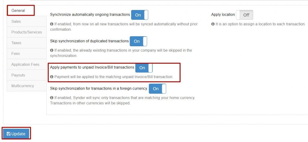 Settings Tab to apply payments to unpaid invoices/Bills transactions