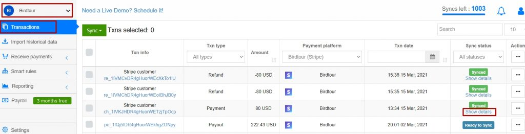 Synder Transactions Tab to see the status of your transactions