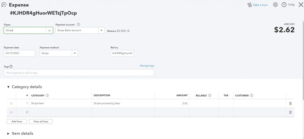 how the payment processing fees look like on the example of Stripe transaction synchronized to QuickBooks