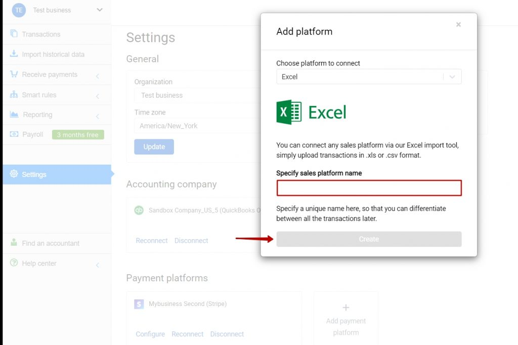 Create Excel import platform