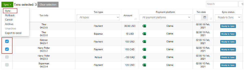 check the transactions in your transaction list in Synder