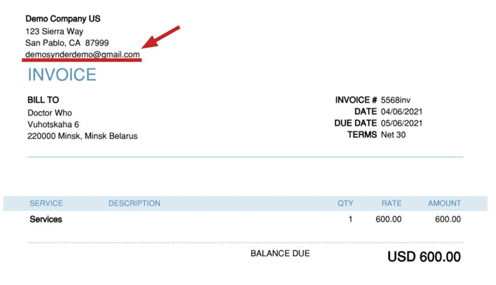 check how the needed email address should be showing on the invoices Synder