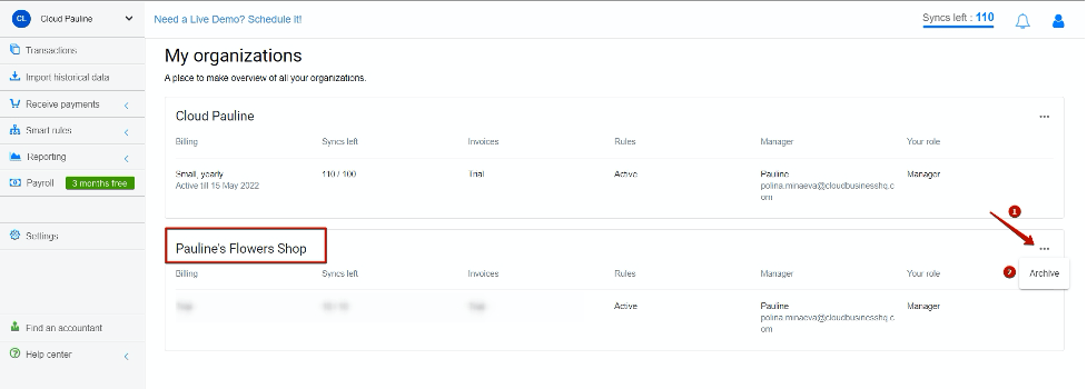 how to archive organizations in Synder: second step
