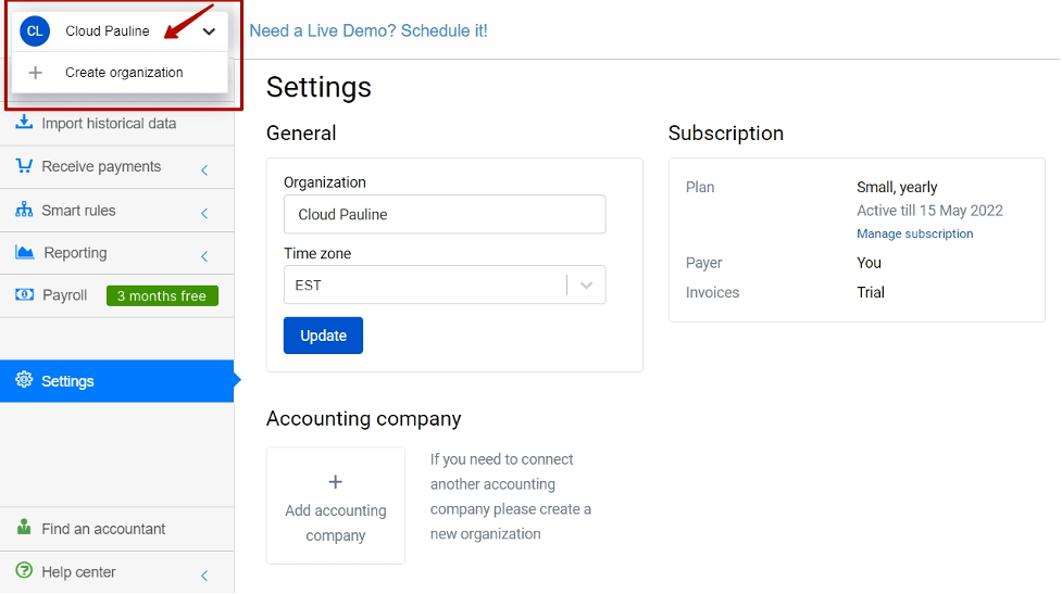 how to archive organizations in Synder: third step