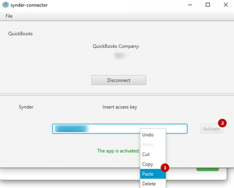 Paste the QuickBooks Connection access key that you copied from the Synder website form, click the Activate button