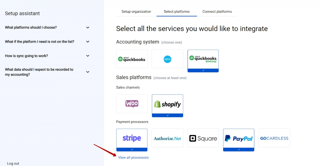 select the platforms you would like to integrate with Synder