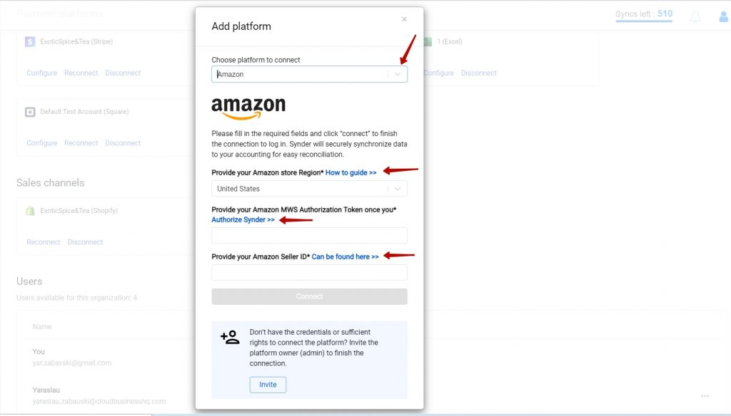Select Amazon from the drop-down menu → paste Seller ID and MWS Auth Token in required fields in Synder → hit the Connect button