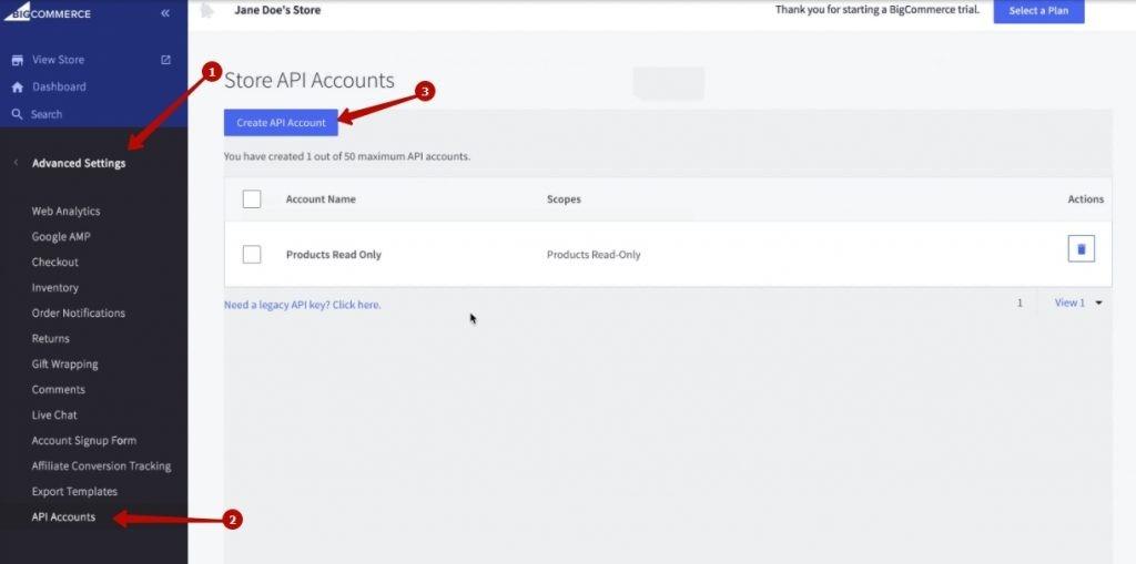 BigCommerce store API credentials