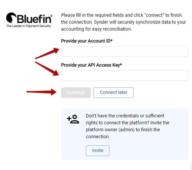 Bluefin Account ID and API key