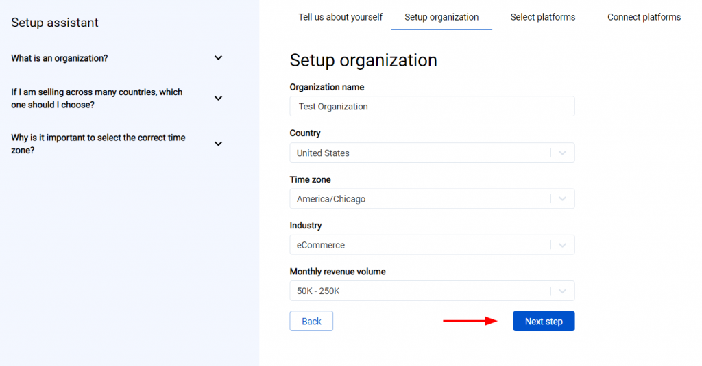 The first step is going through the set-up process of an Organization for your Quickbooks or Xero company