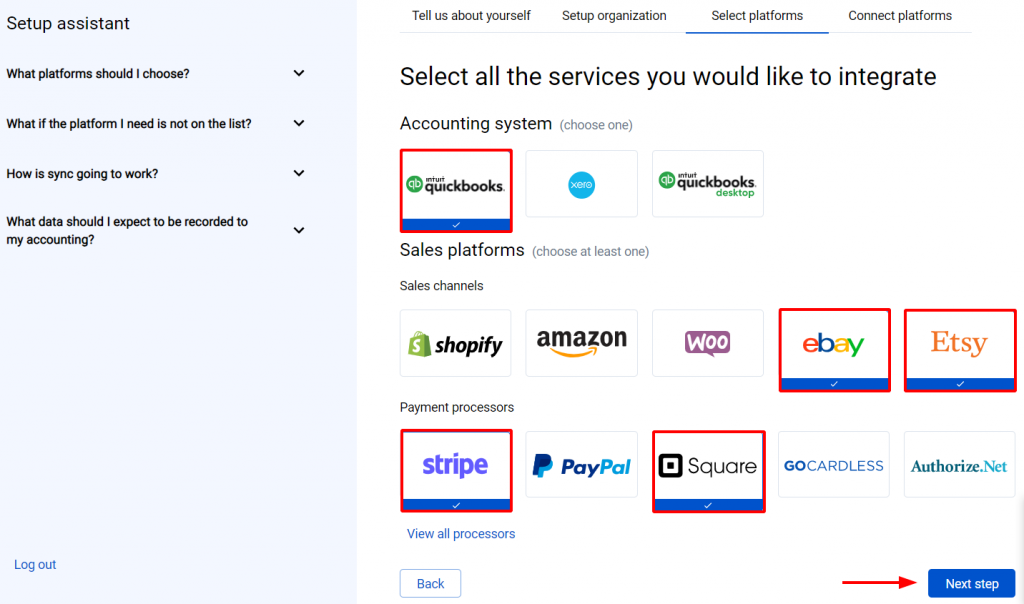Now you need to select the platforms you would like to connect to Synder.