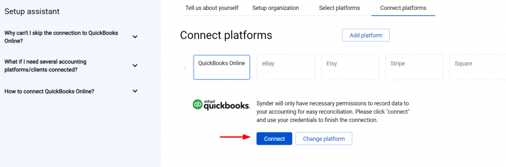 Connect your QuickBooks Online or Xero company by clicking on the Connect button and grant permission to the software to record data in your QuickBooks or Xero company.