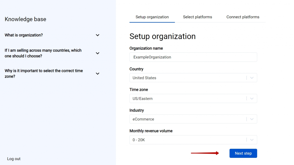 The first step is going through the set-up process of an Organization for your Quickbooks or Xero company - just fill in the information about your business and hit the Next step button.