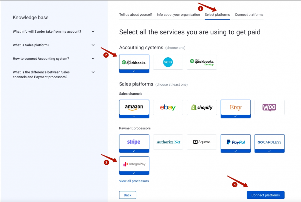 Mark QuickBooks or Xero, IntegraPay, and all other sales platforms you would like to integrate with Synder (click View all processors to see the list of all available platforms).