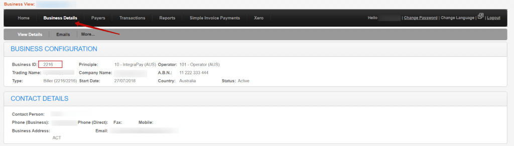 You can find your Business ID in the Business Details section of your IntegraPay Online website.