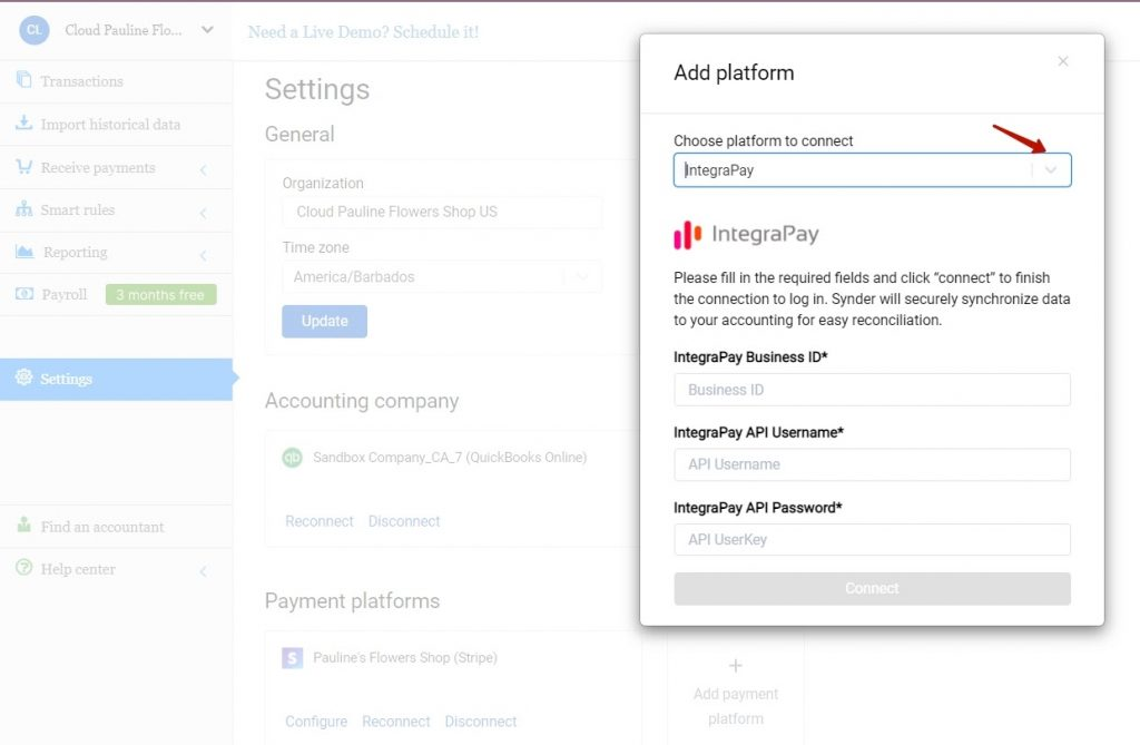 4. Choose IntegraPay in the dropdown menu and hit the Connect button. You will be prompted to fill in yourBusiness ID, API Username, and API password so as to let Synder see and synchronize your transactions.