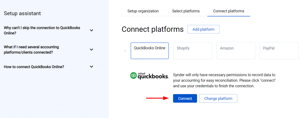 Hit the Connect button and grant the permissions to Synder to record data in your QuickBooks or Xero company