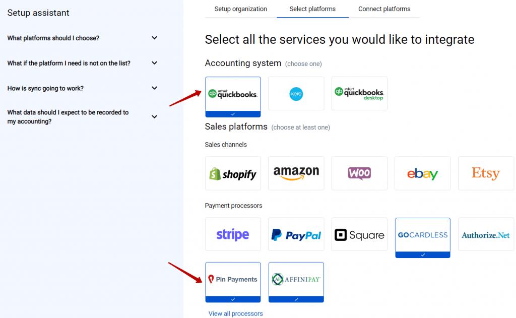 Select platforms PinPayments