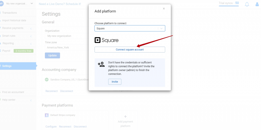 Choose Square in the dropdown menu and hit the Connect button