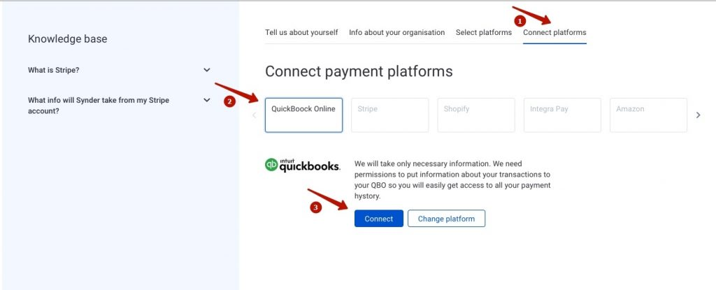 Connect your QuickBooks Online or Xero company by clicking on the Connect button and grant permission to the software to record data in your QuickBooks or Xero company