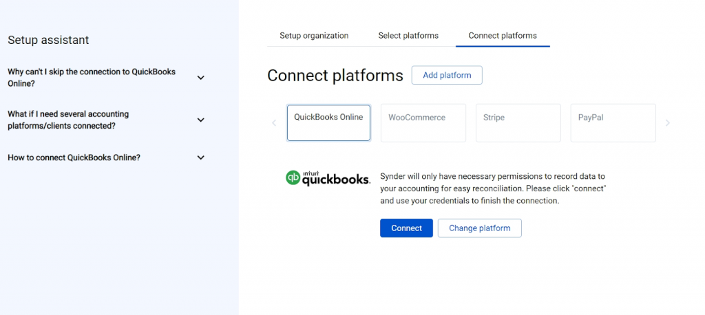 Hit the Connect button and grant permission to Synder to record data in your QuickBooks or Xero company