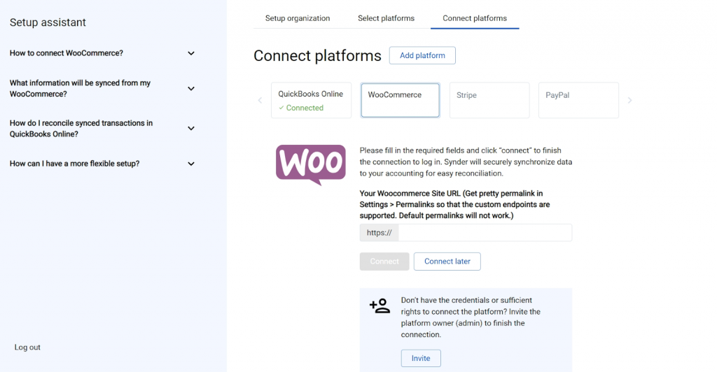 Connect WooCommerce and other sales platforms
