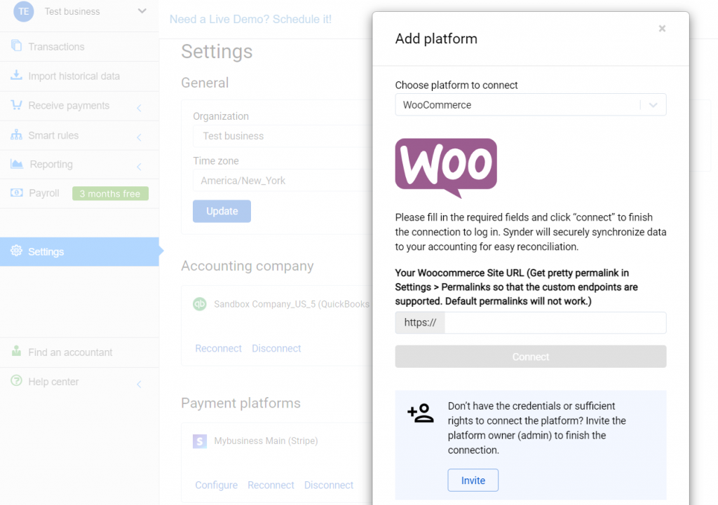 Select WooCommerce in the dropdown and hit the Connect button