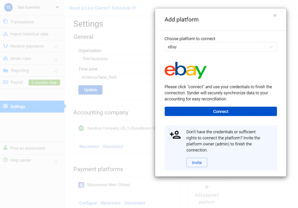 Select eBay in the dropdown and hit the Connect button