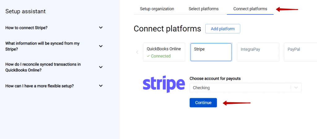 To complete the setup for the Stripe integration choose an account for payouts