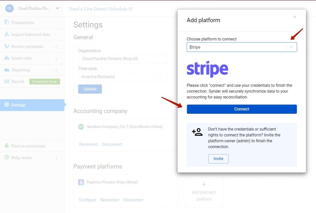 Select Stripe in the dropdown and hit the Connect button