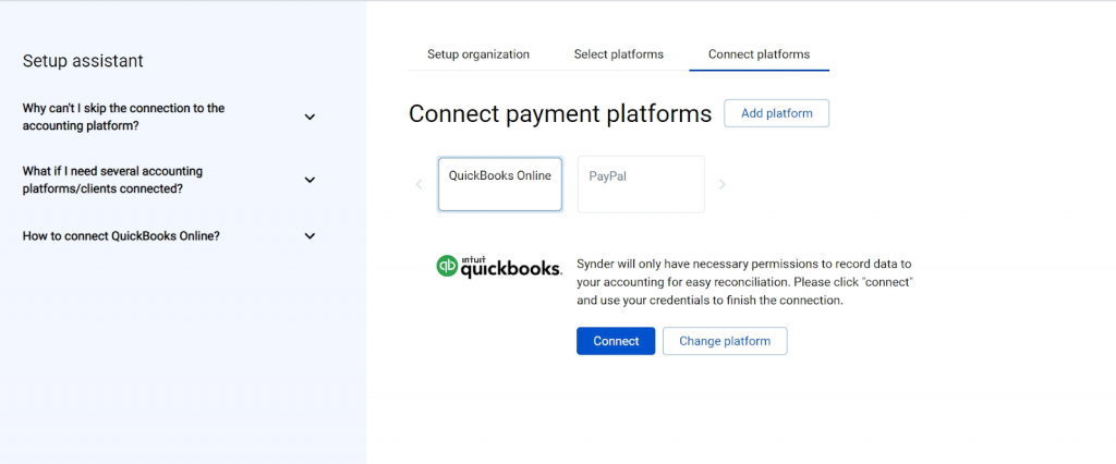 Connect your accounting platform